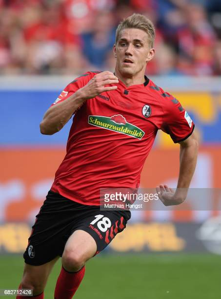 Nils Petersen of Freiburg runs for the ball during the Bundesliga match between SC Freiburg and FC Ingolstadt 04 at SchwarzwaldStadion on May 13 2017...