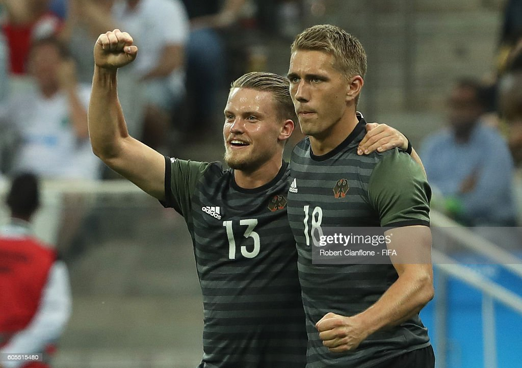 Nils Petersen of Germany celebrates with Philipp Max after scoring a goal during the Men's Football Semi Final between Nigeria and Germany on Day 12 of the Rio 2016 Olympic Games at Arena Corinthians on August 17, 2016 in Sao Paulo, Brazil.