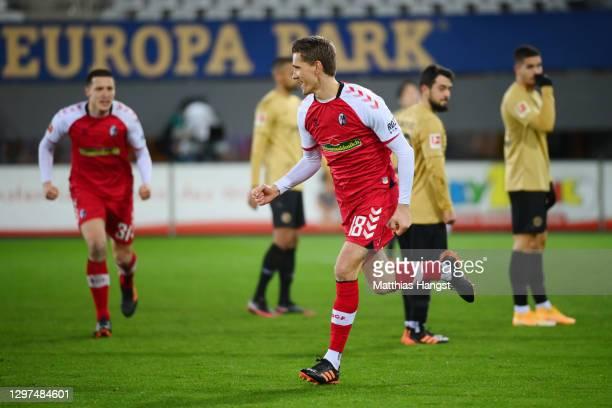Nils Petersen of SC Freiburg celebrates after scoring their team's second goal during the Bundesliga match between Sport-Club Freiburg and Eintracht...