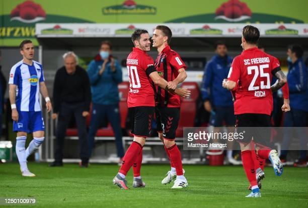Nils Petersen of Sport-Club Freiburg is congratulated by Christian Guenter of Sport-Club Freiburg after scoring a goal during the Bundesliga match...