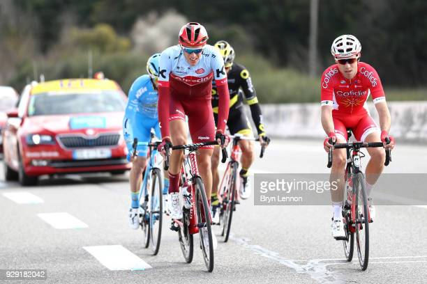 Nils Politt of Germany and KatushaAlpecin and Nicolas Edet of France and Cofidis Solutions Credits during the 76th Paris Nice 2018 Stage 5 a 165km...