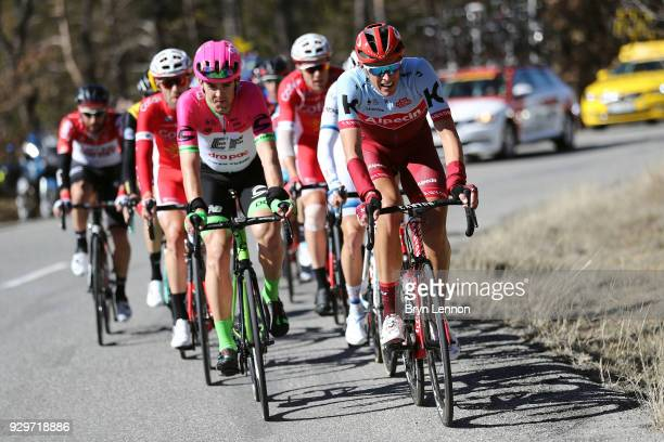 Nils Politt of Germany and KatushaAlpecin / Tom Scully of New Zealand and EF Education FirstDrapac p/b Cannondale / during stage 6 of the 76th Paris...