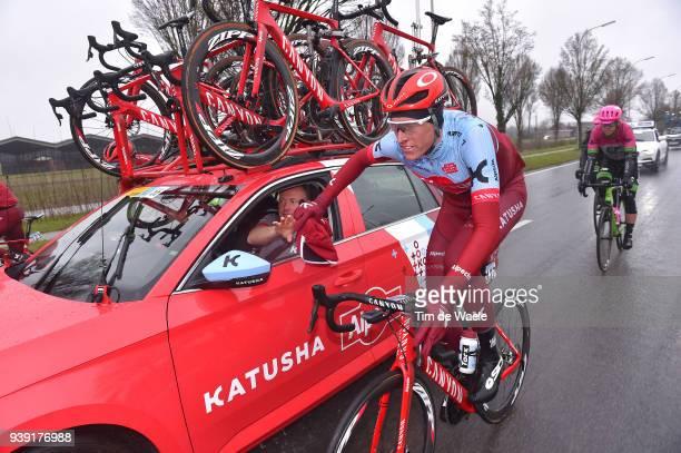 Nils Politt of Germany and Team Katusha Alpecin / Car / Rain / during the 73rd Dwars door Vlaanderen 2018 a 180,1km race from Roeselare to Waregem on...