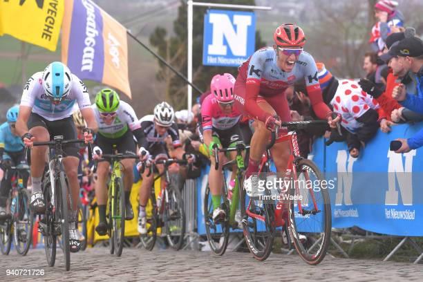 Nils Politt of Germany and Team Katusha Alpecin / Gianni Moscon of Italy and Team Sky / Sebastian Langeveld of The Netherlands and Team EF Education...