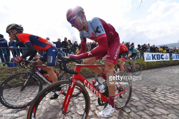 Nils Politt of Germany and Team Katusha Alpecin / Koppenberg / Cobbles / during the 102nd Tour of Flanders 2018 Ronde Van Vlaanderen a 2647km race...