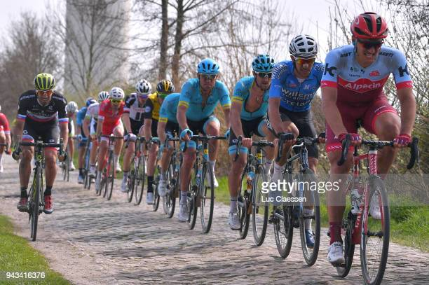Nils Politt of Germany and Team Katusha Alpecin / Luka Mezgec of Slovenia and Team MitcheltonScott / during the 116th Paris Roubaix 2018 a 257km race...