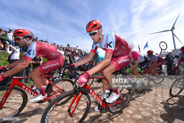 Nils Politt of Germany and Team Katusha Alpecin / Pave Cobblestones / Fans / Public / during the 116th Paris - Roubaix 2018 a 257km race from...