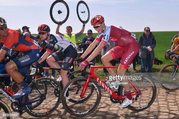Nils Politt of Germany and Team Katusha Alpecin / Pave Cobblestones / during the 116th Paris Roubaix 2018 a 257km race from Compiegne to Roubaix on...