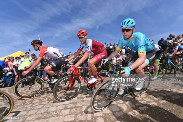 Nils Politt of Germany and Team Katusha Alpecin / Ruslan Tleubayev of Kazakhstan and Astana Pro Team /during the 116th Paris Roubaix 2018 a 257km...