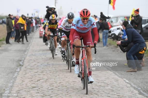 Nils Politt of Germany and Team Katusha-Alpecin / Peter Sagan of Slovakia and Team BORA - hansgrohe / Sector 4 - Carrefour de l'Arbre / Cobblestones...