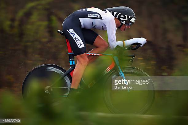Nils Politt of Germany in action in the Under 23 Men's Individual Time Trial on day two of the UCI Road World Championships on September 22 2014 in...