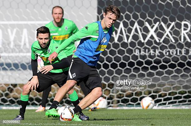 Nils Ruetten is chased by Julian Korb during a training session at day 2 of Borussia Moenchengladbach training camp on January 08 2016 in Belek Turkey
