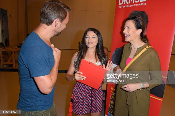 """Nils Schulz, Anne Menden and Ulrike Frank attend the """"Gute Zeiten, Schlechte Zeiten"""" stars at DKMS-Event on July 28, 2019 in Potsdam, Germany. The..."""