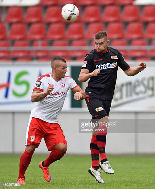 Nils Stettin of Union Berlin heads the ball during the game between Hallescher FC and Union Berlin on july 13 2015 in Halle Germany