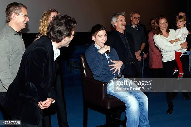 Nils Tavernier Fabien Heraud and Jacques Gamblin attend the 'De Toutes Nos Forces' Paris premiere at Gaumont Capucines on March 17 2014 in Paris...
