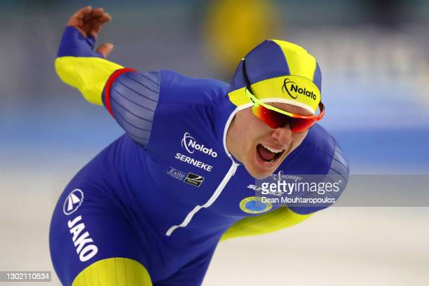 Nils Van Der Poel of Sweden competes in the 10000m Mens race during Day 4 of the ISU World Speed Skating Championships at Thialf Arena on February...