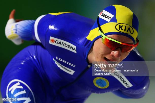 Nils Van Der Poel of Sweden competes in the 5000m Mens race during the World Allround Speed Skating Championships at the Olympic Stadium on March 10...
