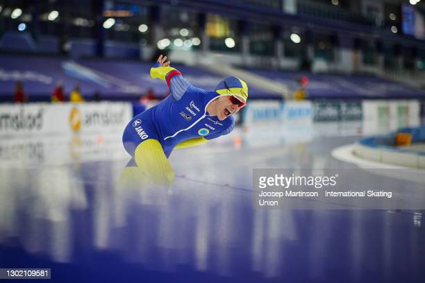 Nils van der Poel of Sweden competes in the Men's 10000m during day 4 of the ISU World Speed Skating Championships at Thialf on February 14, 2021 in...