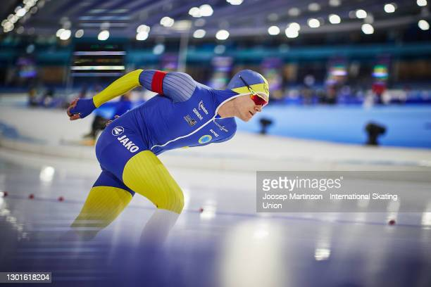Nils van der Poel of Sweden competes in the Men's 5000m during day 1 of the ISU World Speed Skating Championships at Thialf on February 11, 2021 in...