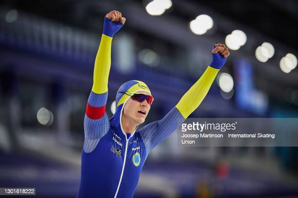 Nils van der Poel of Sweden reacts in the Men's 5000m during day 1 of the ISU World Speed Skating Championships at Thialf on February 11, 2021 in...