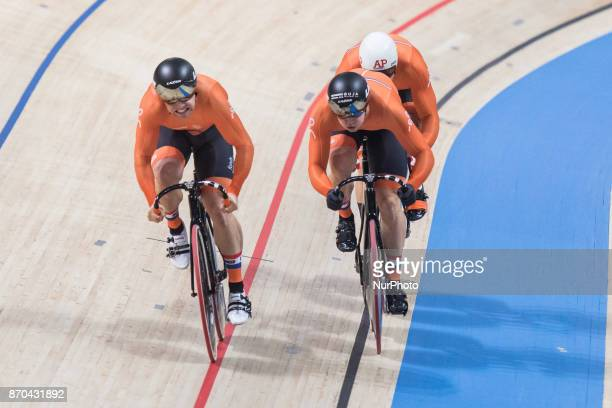 Nils Van`t Hoenderdaal Harrie Lavreysen Jeffrey Hoogland Men`s team sprint Sprint during day 2 of Track Cycling World Cup Pruszkow 2017 in Pruszkow...