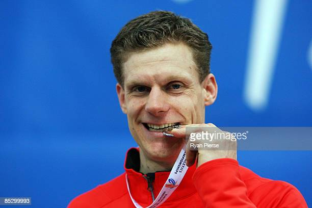 Nils Winter of Germany celebrates the silver medal in the Mens Long Jump Final during day three of the European Athletics Indoor Championships at the...