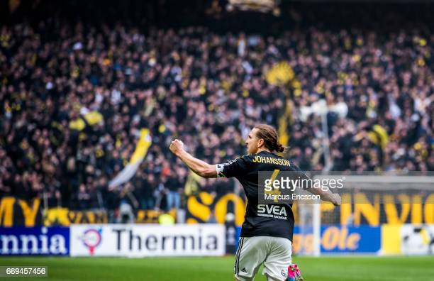 NilsEric Johansson of AIK celebrates after scoring 10 during the Allsvenskan match between AIK and Hammarby IF at Friends arena on April 17 2017 in...