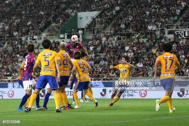 Nilton of Vissel Kobe heads the ball to score his side's third goal during the JLeague J1 match between Vissel Kobe and Vegalta Sendai at Noevir...