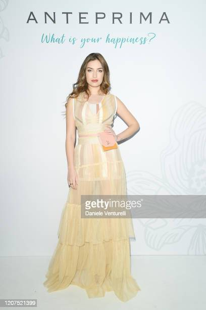Nilufar Addati poses for the photographer during the backstage of the Anteprima FW20 Milan Show on February 20 2020 in Milan Italy