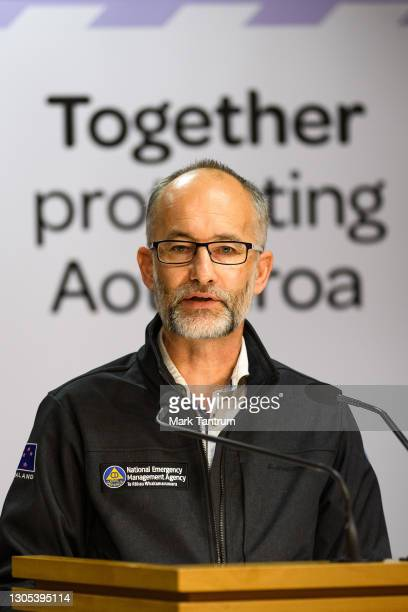 Nima national controller Roger Ball speaks with media on March 05, 2021 in Wellington, New Zealand. Tsunami warnings are in place for large parts of...