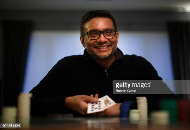 "Niman Kenkre, otherwise known as ""Samoleus"" online, works on his poker game at his home in Belmont, MA on Jan. 22, 2018. Kenkre rode the wave of..."