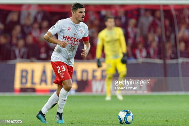 Nimes' Anthony Briançon during the Ligue 1 match between Lille OSC and Nimes Olympique at Stade Pierre Mauroy on October 06, 2019 in Lille, France.