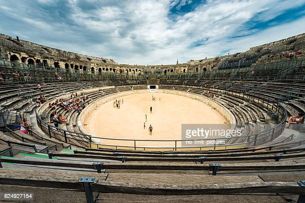 nimes arena - amphitheatre stock photos and pictures