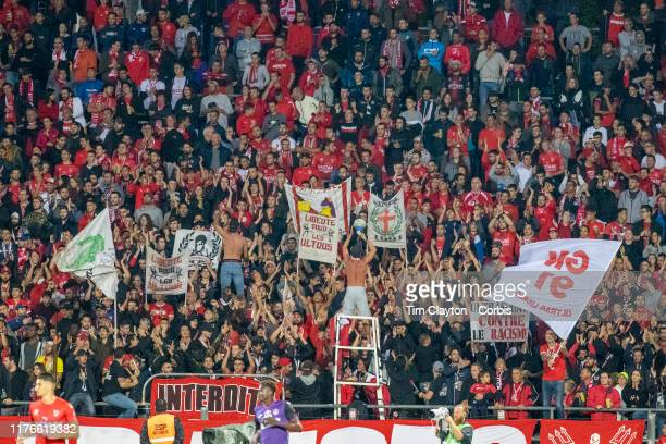 September 21: Nimes fans during the Nimes V Toulouse, French Ligue 1, regular season match at Stade des Costières on September 21st 2019, Nimes,...
