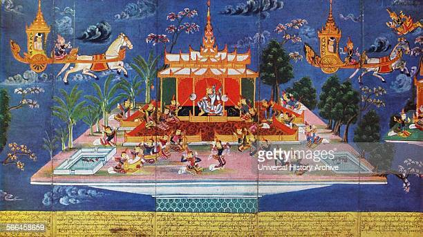 Nimi tours the different heavens Burmese screen painting 19th century Nimi is considered to be the first king of Mithila in the lineage of Janaks...