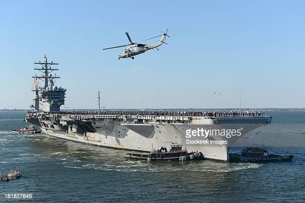 nimitz-class aircraft carrier uss dwight d. eisenhower. - norfolk virginia stock photos and pictures