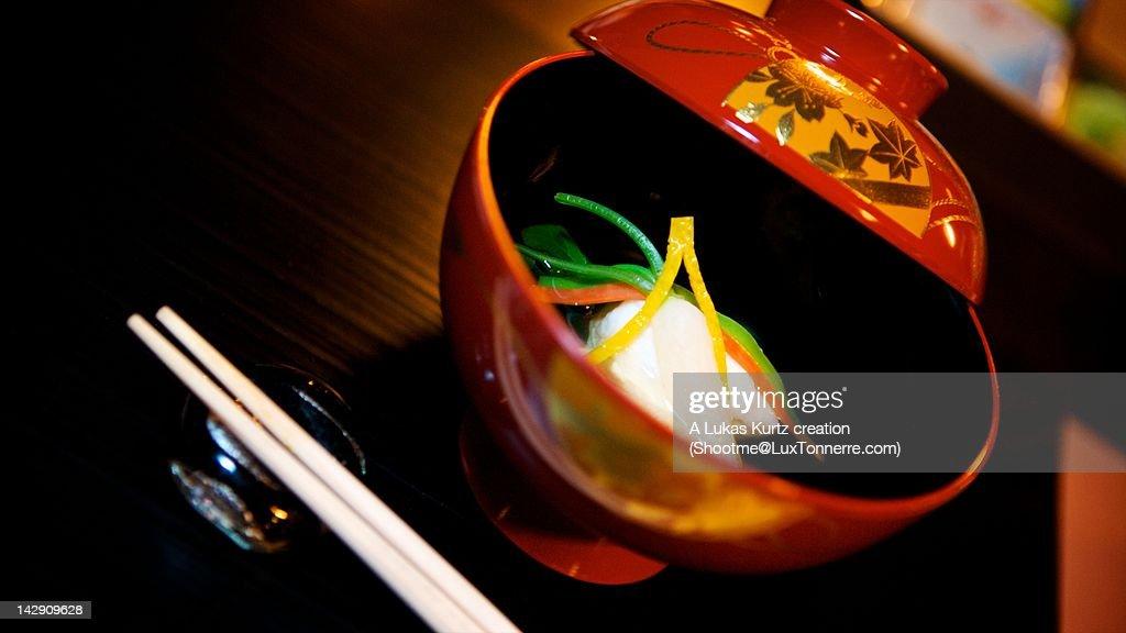 Nimono stew in bowl on table : Stock Photo