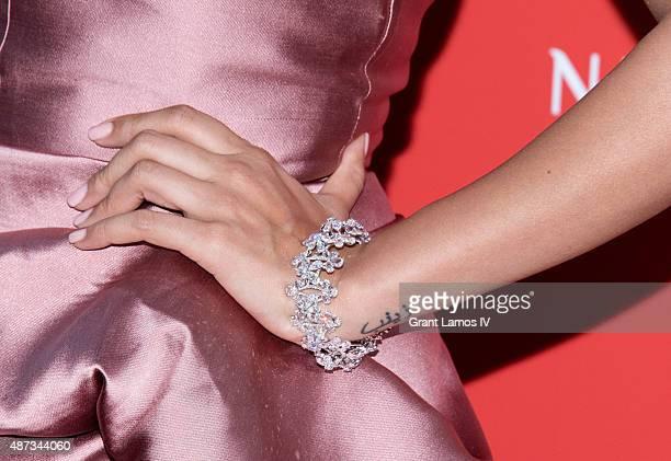 Nimrat Kaur bracelet detail attends the Nirav Modi US boutique grand opening at Nirav Modi Boutique on September 8 2015 in New York City