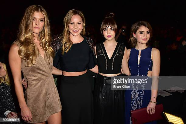 Nina Agdal Abbie Cornish Bailee Madison and Sami Gayle pose from front row at the BCBGMAXAZRIA Fall 2016 show at New York Fashion Week The Shows at...