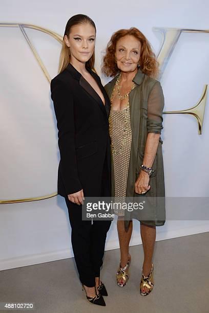 Nina Agdal and designer Diane Von Furstenberg pose backstage at the Diane Von Furstenberg Spring 2016 fashion show during New York Fashion Week at...