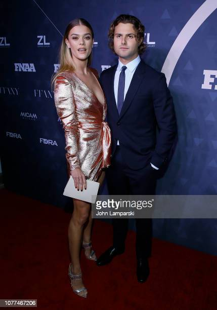 Nina Agdal and Jack Brinkley Cook attend 2018 FN Achievement Awards at IAC Headquarters on December 04 2018 in New York City