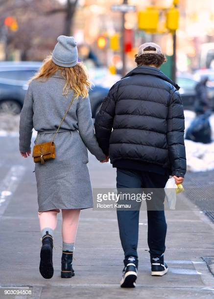 Nina Agdal and Jack BrinkleyCook are seen in SoHo on January 9 2018 in New York City