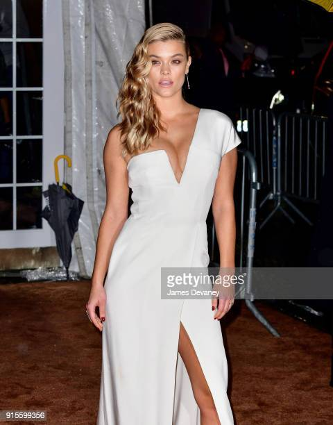 Nina Agdal arrives to the 2018 amfAR Gala New York at Cipriani Wall Street on February 7 2018 in New York City