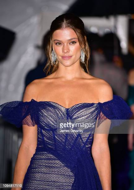 Nina Agdal arrives to the amfAR Gala New York 2019 at Cipriani Wall Street on February 6 2019 in New York City