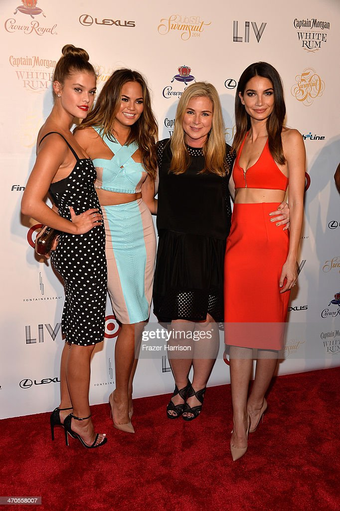 Nina Agdal, Chrissy Teigen, M.J. Day, and Lily Aldridge attend Club SI Swimsuit at LIV Nightclub hosted by Sports Illustrated at Fontainebleau Miami on February 19, 2014 in Miami Beach, Florida.