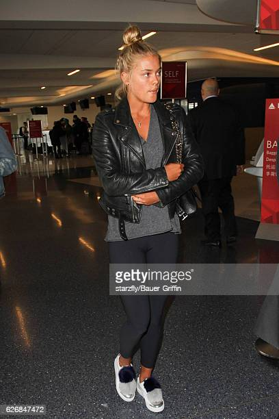 Nina Agdal is seen at LAX on November 30, 2016 in Los Angeles, California.