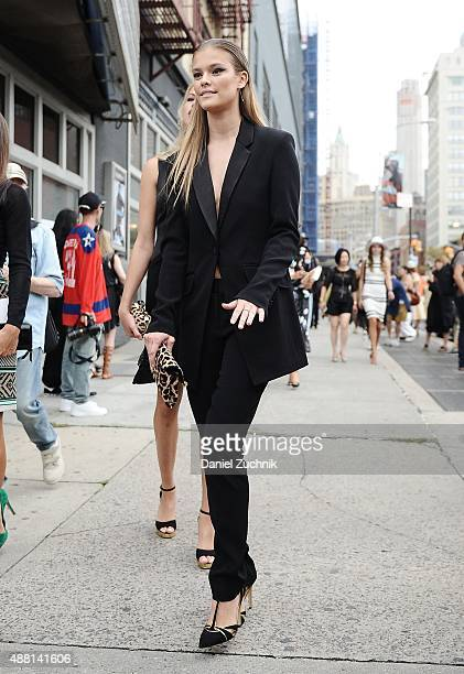Nina Agdal is seen outside the DVF show on September 13 2015 in New York City