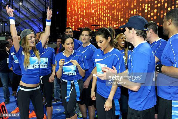 Nina Agdal Meghan Markle Peter Facinelli Shay Mitchell Serena Williams and James Marsden participate in the DirecTV Beach Bowl at Pier 40 on February...