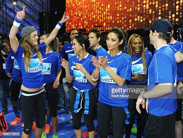Nina Agdal Meghan Markle Shay Mitchell Serena Williams and James Marsden participate in the DirecTV Beach Bowl at Pier 40 on February 1 2014 in New...
