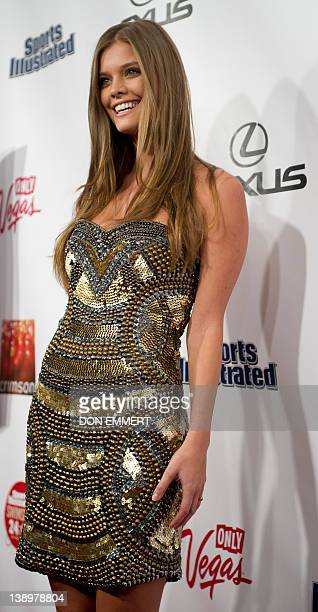 Nina Agdal poses for photos during an event to promote the 2012 Swimsuit Issue of Sports Illustrated February 14 2012 in New York AFP PHOTO/DON EMMERT